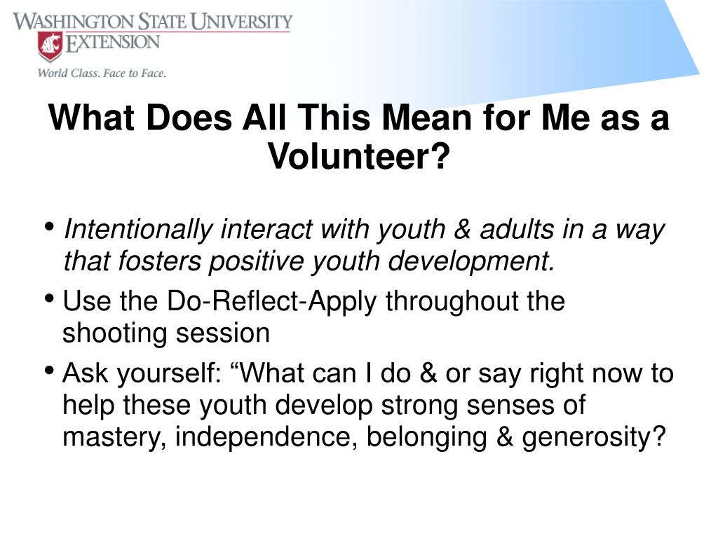 Intentionally interact with youth & adults in a way that fosters positive youth development.
