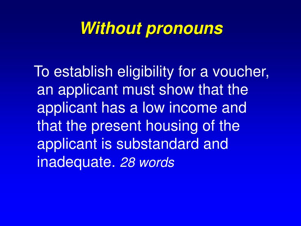 Without pronouns
