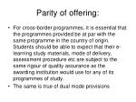 parity of offering