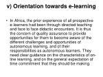 v orientation towards e learning