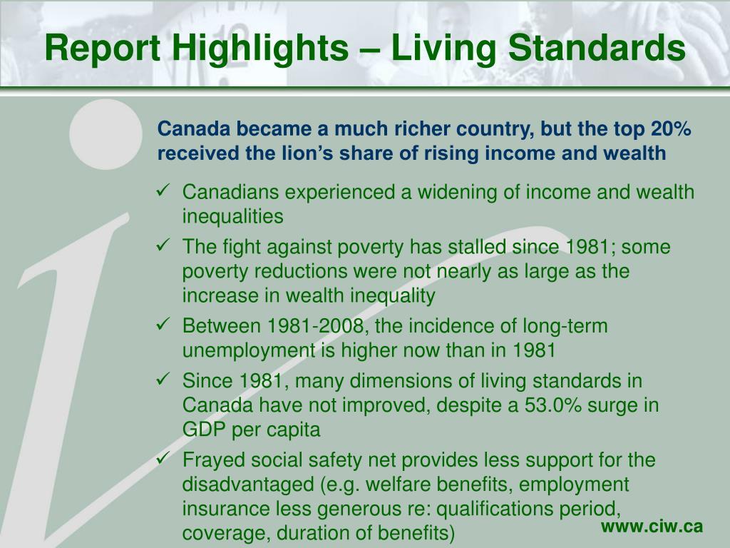 Report Highlights – Living Standards