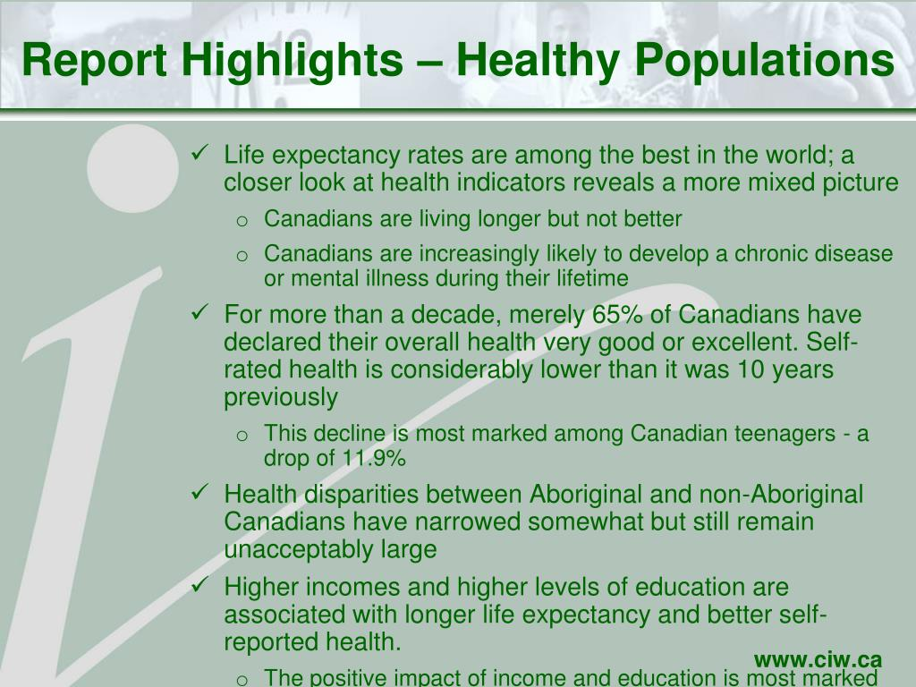 Report Highlights – Healthy Populations