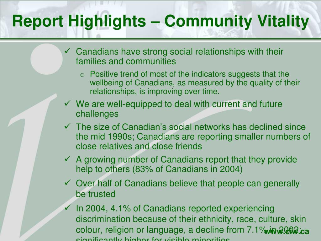 Report Highlights – Community Vitality