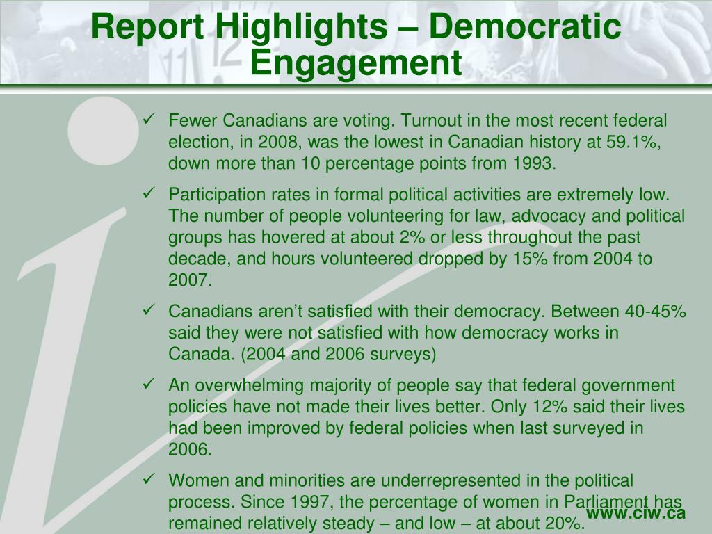 Report Highlights – Democratic Engagement