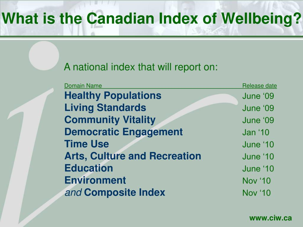 What is the Canadian Index of Wellbeing?