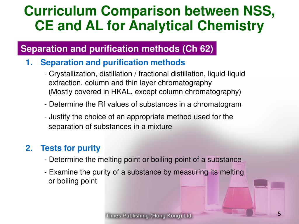 Curriculum Comparison between NSS, CE and AL for Analytical Chemistry