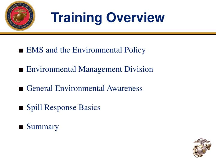 Training overview