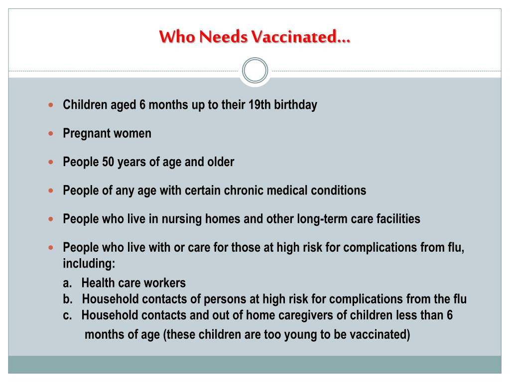 Who Needs Vaccinated…