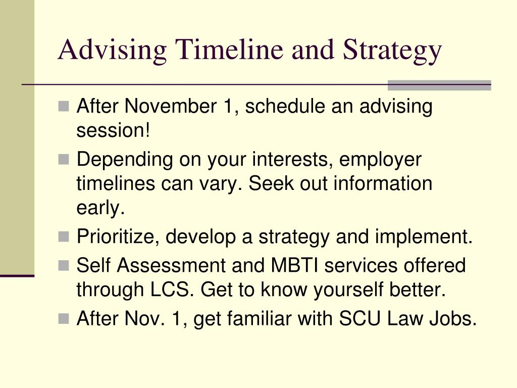 Advising Timeline and Strategy