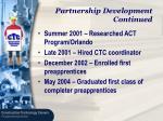 partnership development continued