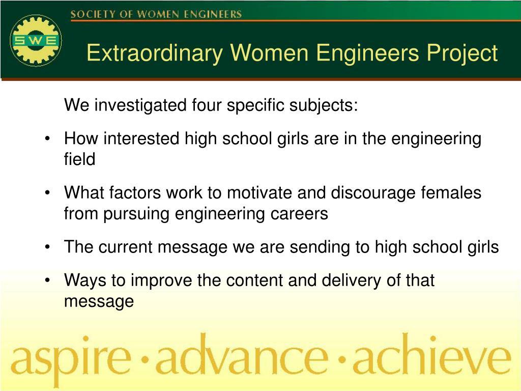 Extraordinary Women Engineers Project