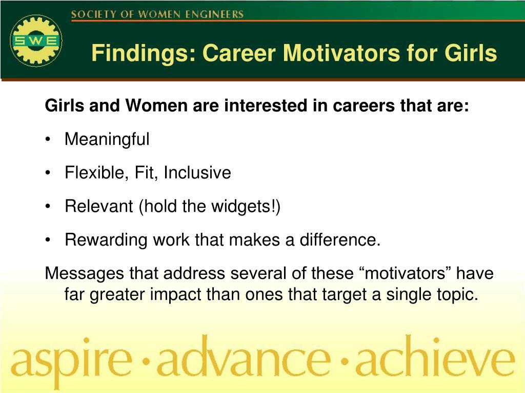 Findings: Career Motivators for Girls
