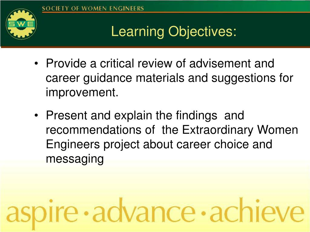 Provide a critical review of advisement and career guidance materials and suggestions for improvement.