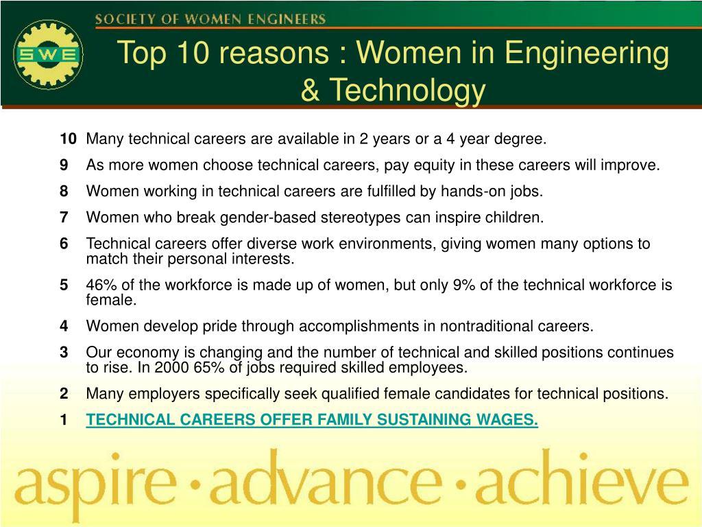 Top 10 reasons : Women in Engineering & Technology