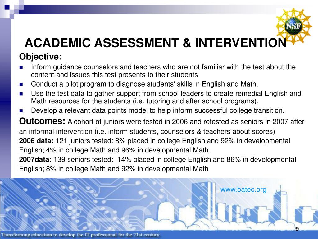 ACADEMIC ASSESSMENT & INTERVENTION