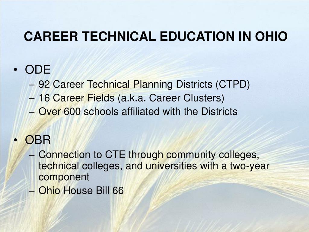 CAREER TECHNICAL EDUCATION IN OHIO