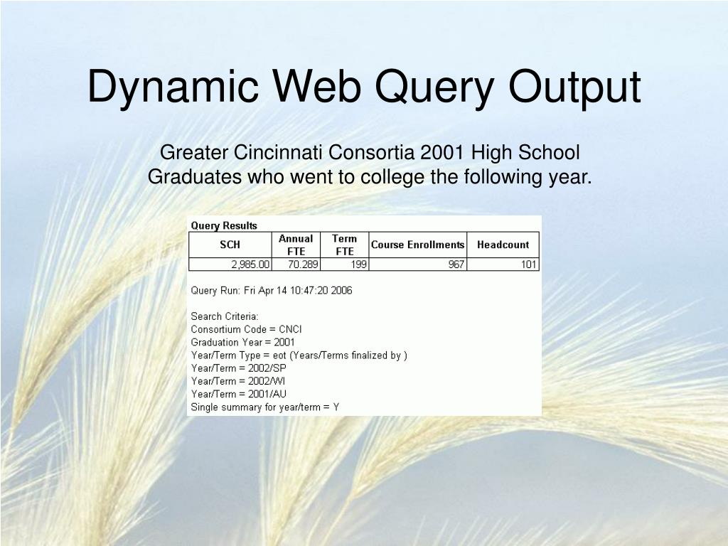 Dynamic Web Query Output