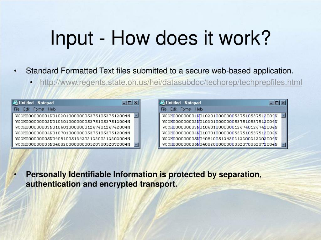 Input - How does it work?