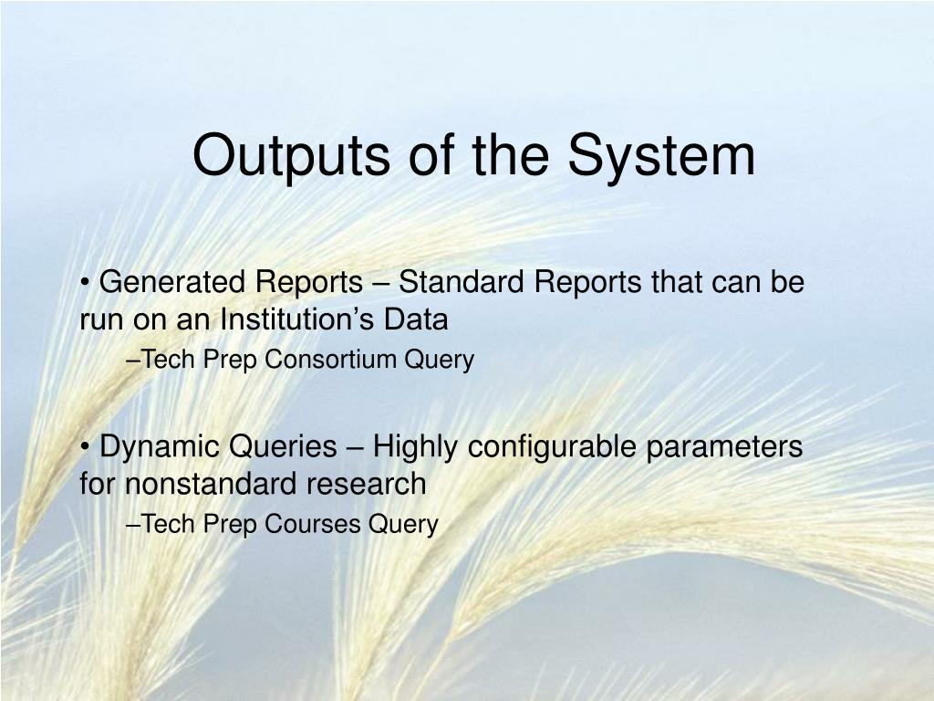Outputs of the System