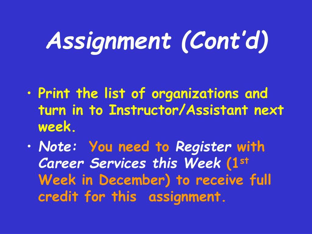 Assignment (Cont'd)