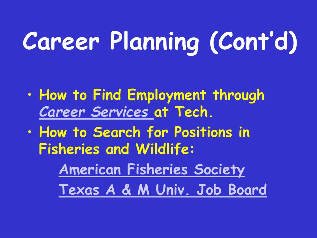 Career Planning (Cont'd)