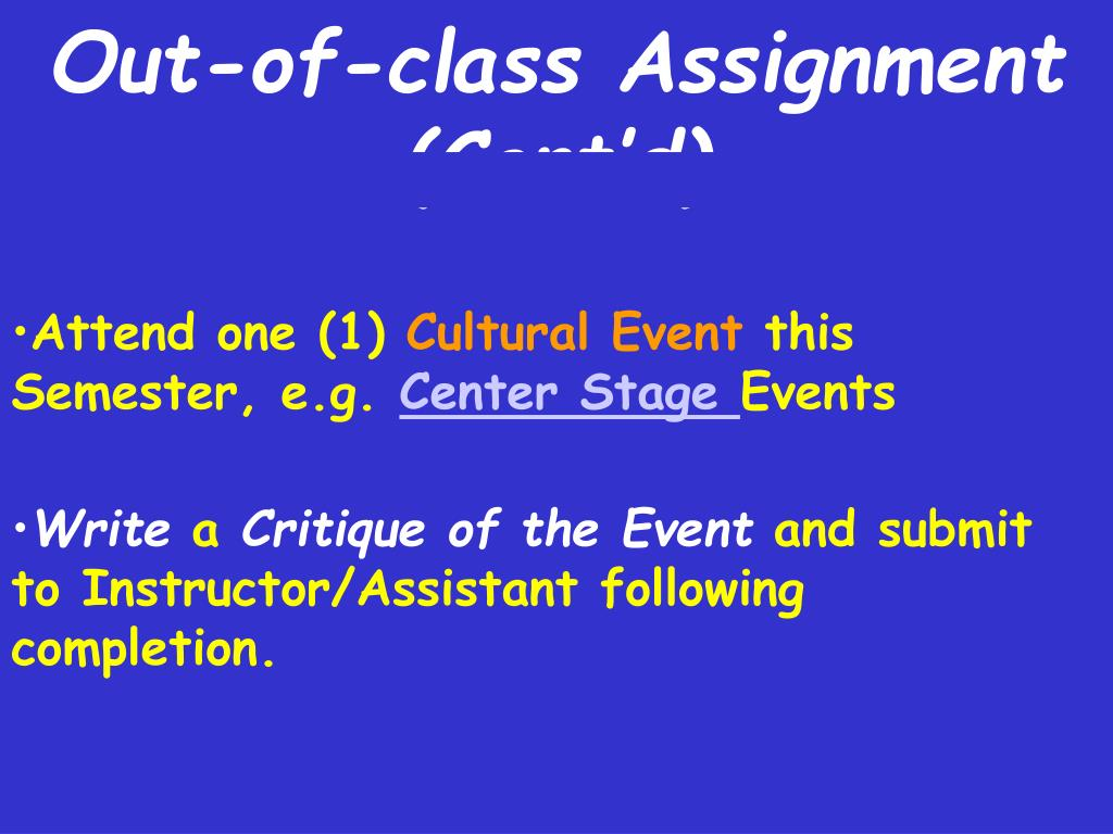 Out-of-class Assignment (Cont'd)