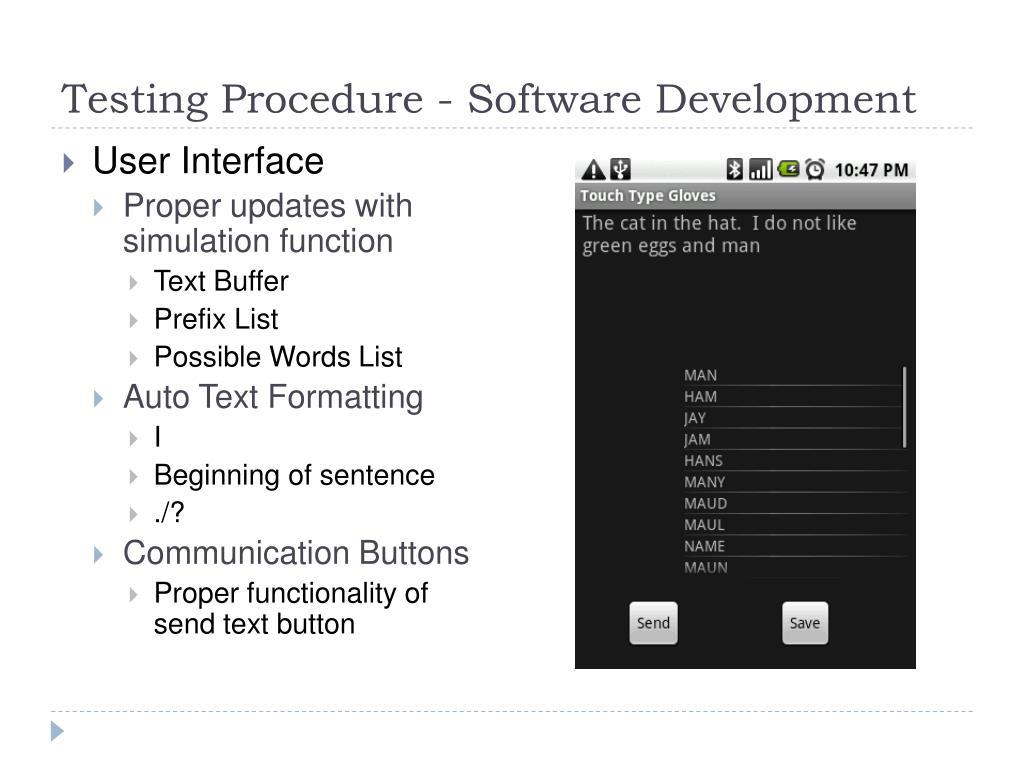 Testing Procedure - Software