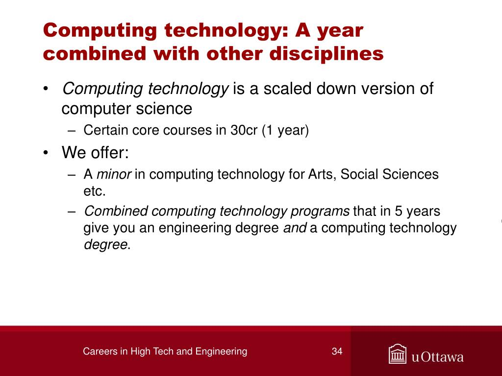 Computing technology: A year combined with other disciplines