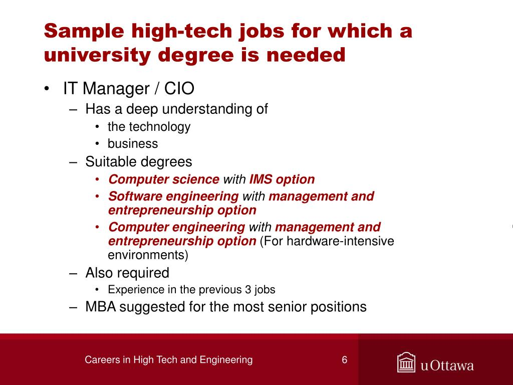 Sample high-tech jobs for which a university degree is needed