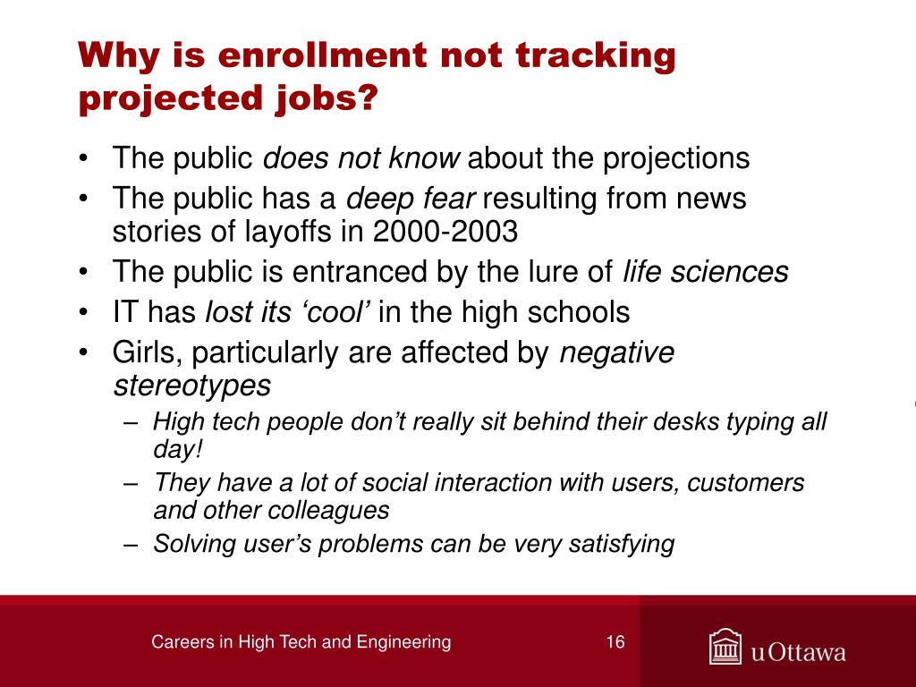 Why is enrollment not tracking projected jobs?