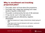 why is enrollment not tracking projected jobs