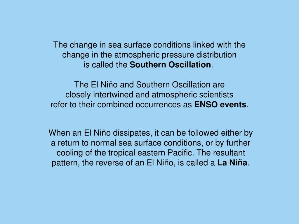 The change in sea surface conditions linked with the