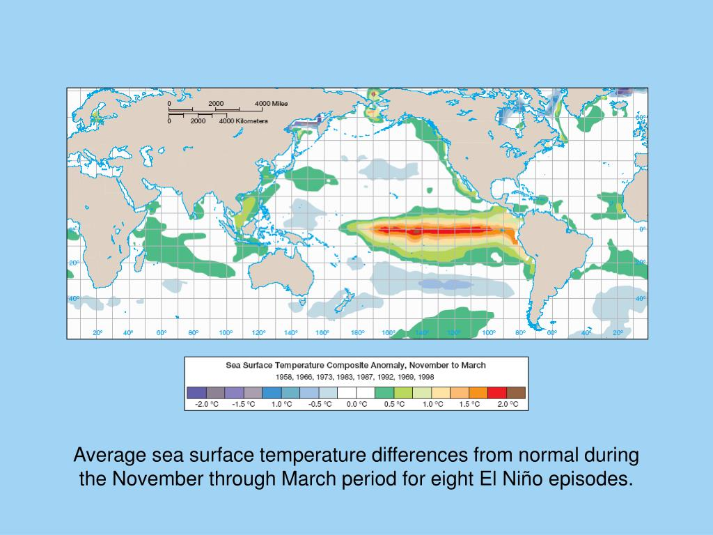 Average sea surface temperature differences from normal during
