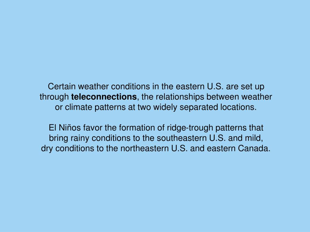 Certain weather conditions in the eastern U.S. are set up