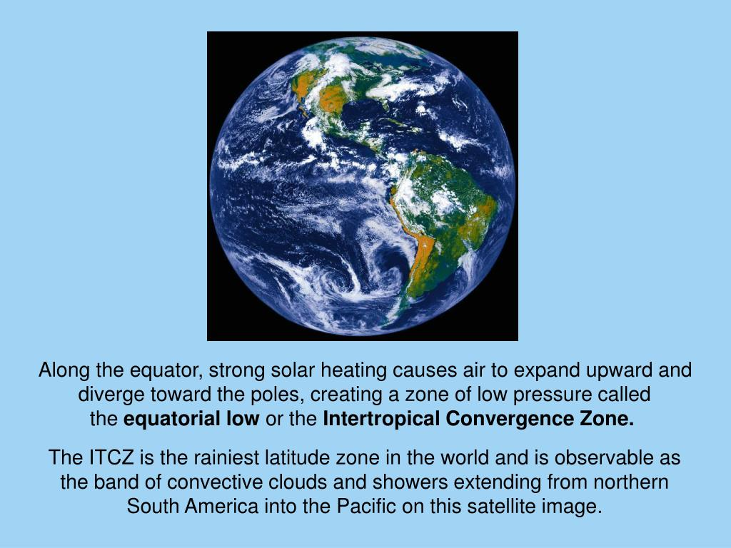 Along the equator, strong solar heating causes air to expand upward and