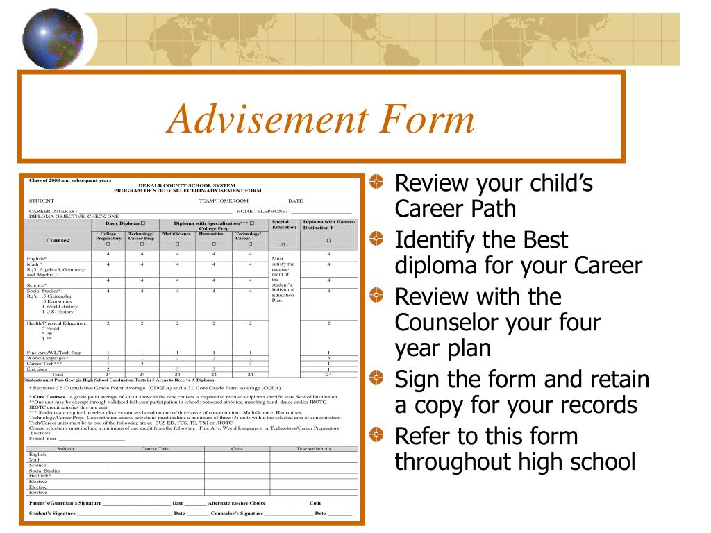 Advisement Form