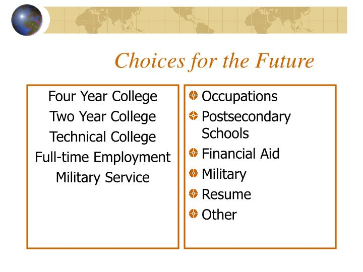 Choices for the future