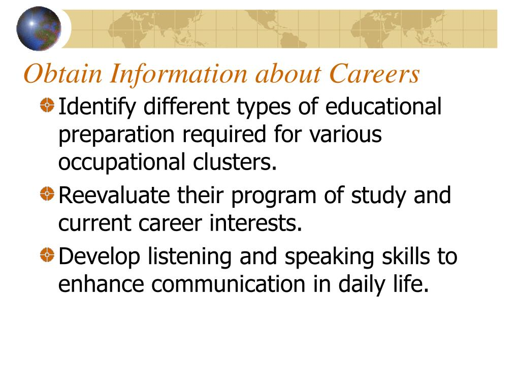 Obtain Information about Careers
