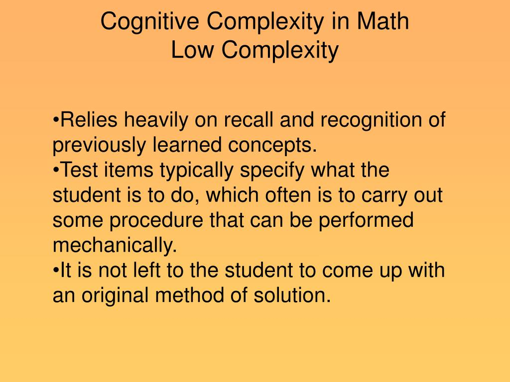 Cognitive Complexity in Math