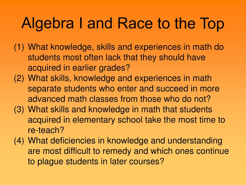 Algebra I and Race to the Top