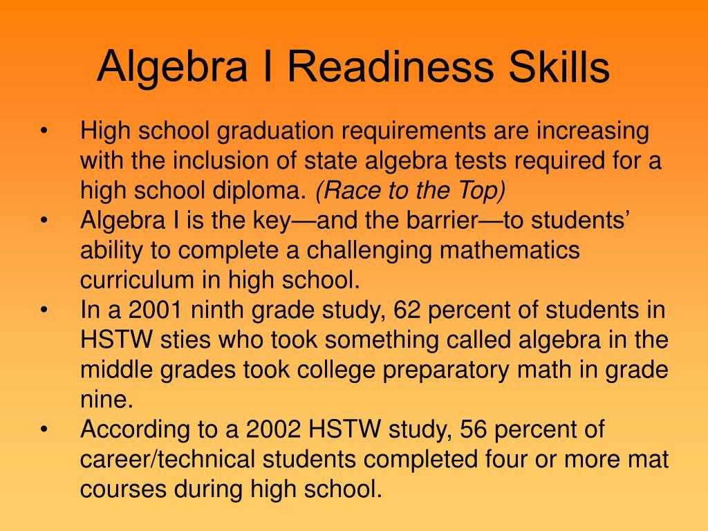 Algebra I Readiness Skills