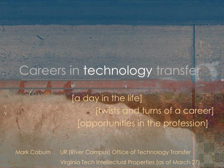 Careers in technology transfer