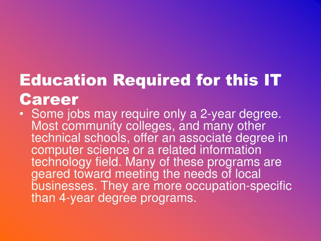 Education Required for this IT Career