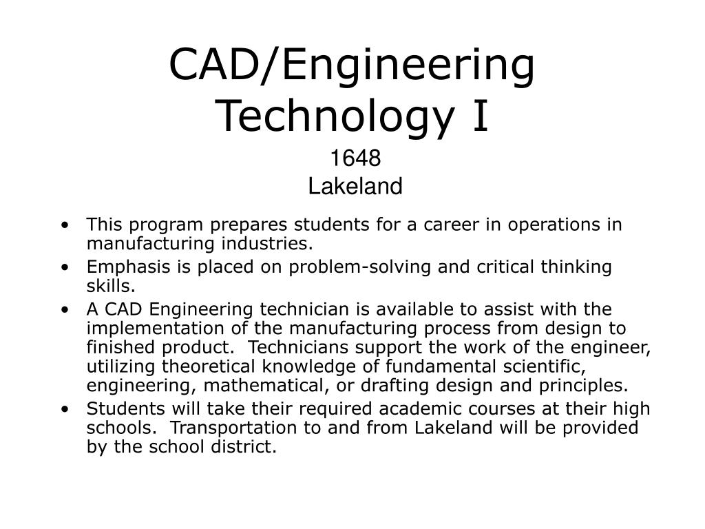 CAD/Engineering Technology I