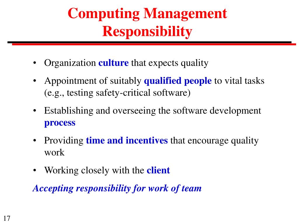 Computing Management Responsibility