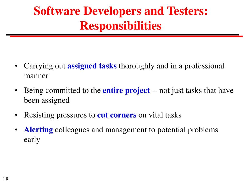 Software Developers and Testers: Responsibilities