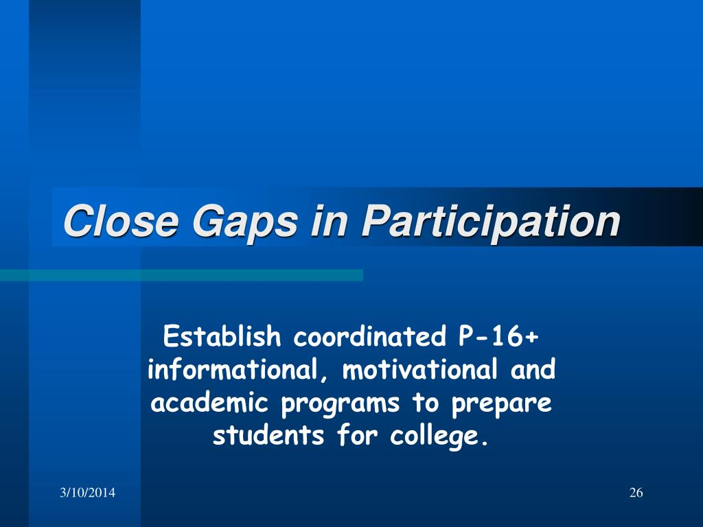 Close Gaps in Participation