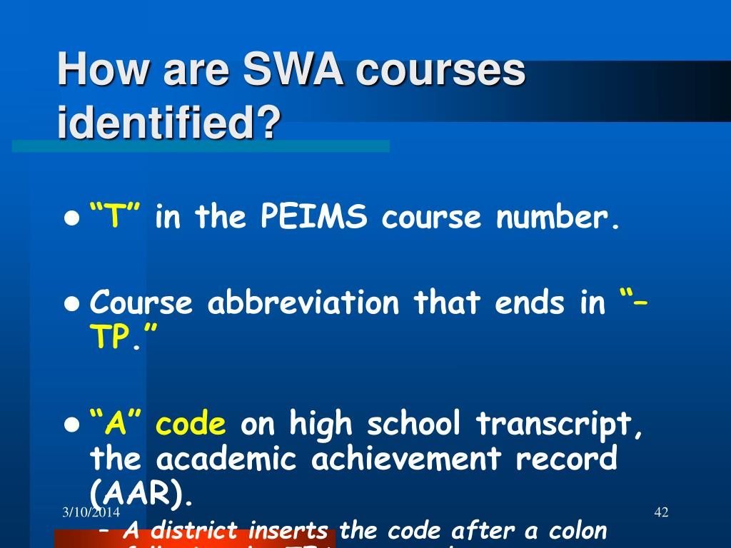 How are SWA courses identified?
