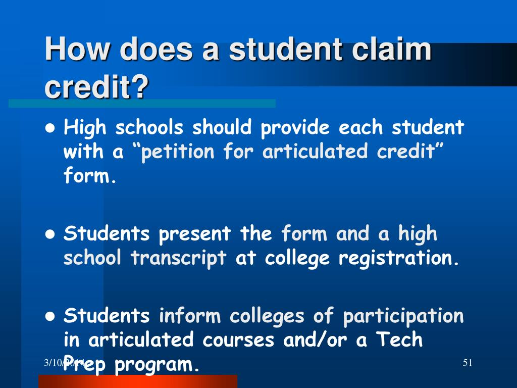 How does a student claim credit?