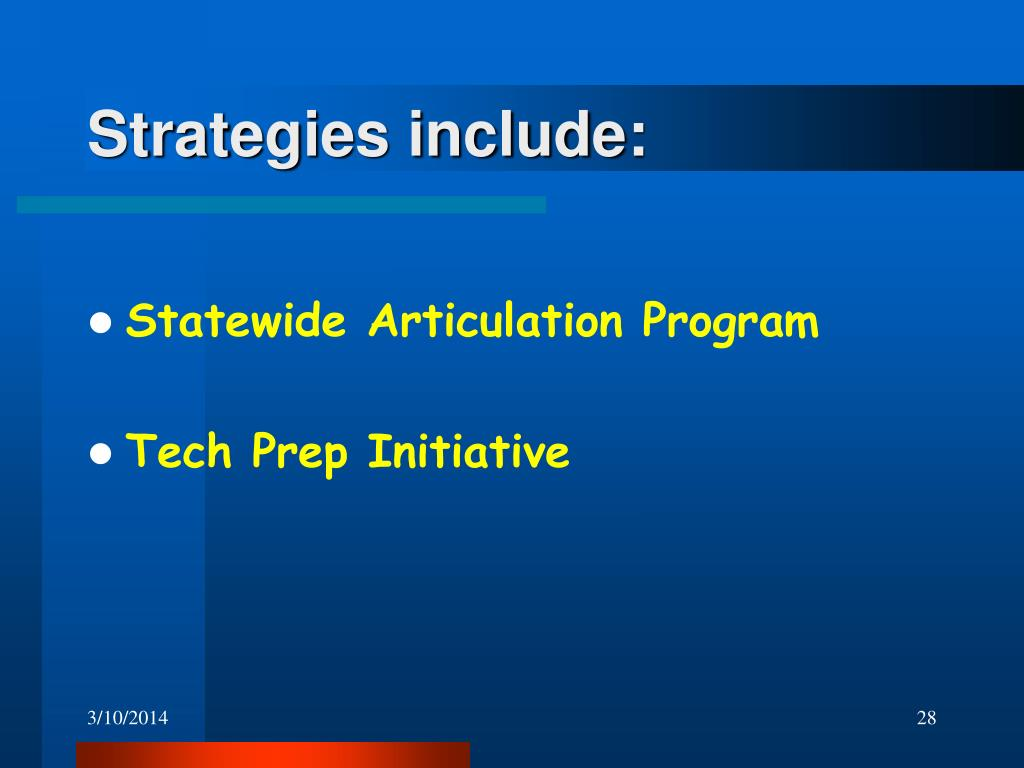 Strategies include: